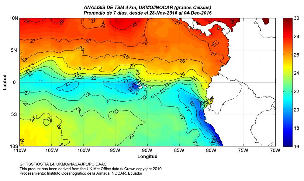 Condiciones oceanográficas en el Pacifico Ecuatorial Central-Este